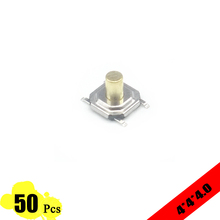 50pcs/lot touch switch 5.2*5.2*4.0mm 4 PIN Metal Tactile 12V Micro SMT Push Button Switch High-Quality tact switch