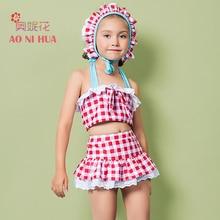 AONIHUA 3PCS Plaid Gingham bikini set with skirt cap Girls kids Summer Chic Lace swimsuit Children baby Halter Swimwear 2041