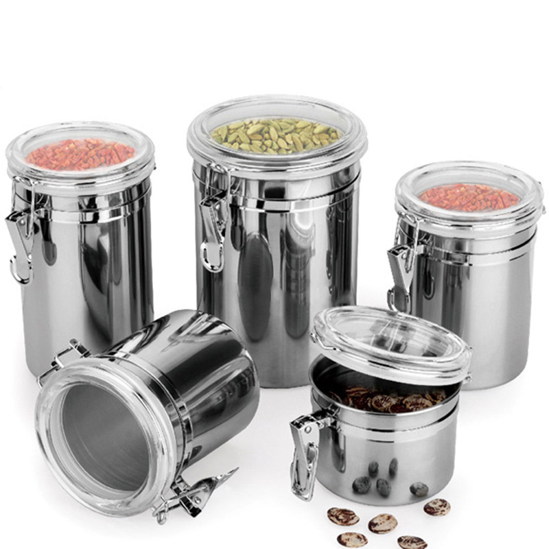 US $0.71 20% OFF|New Stainless Steel Airtight Sealed Canister Coffee Flour  Sugar Tea Container Kitchen Storage Bottles Jars Boxes-in Bottles,Jars & ...