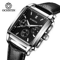 OCHSTIN 2019 mężczyzn plac Quartz czarny zegarek luksusowej marki biznes Wriswatch męski skórzany pasek chronografu analogowy zegar relogio w Zegarki kwarcowe od Zegarki na