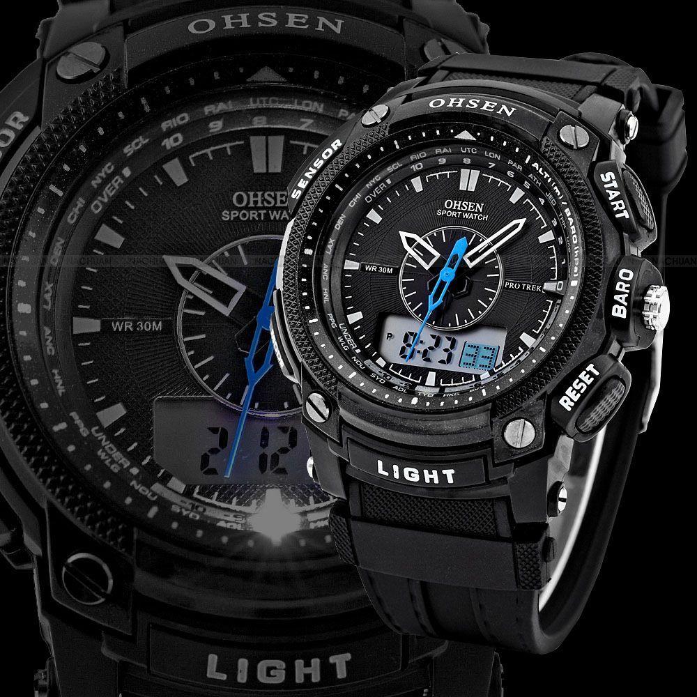 OHSEN Analog Relogio Digital Display Military Alarm Stopwatch Black Silicon Strap Men Quartz Casual Mens Sports Watch - Beautiful Store store