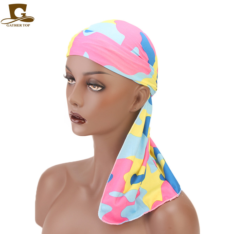 New camo design Stretchable Long Tail Wide Straps Durag Du-RAG doo rag Biker   Headwear   Headband Pirate Hat Hair Accessories