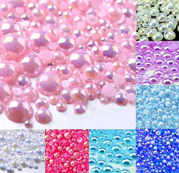 10mm half Round Flat Back Imitation pearls Scrapbook Beads Nail Decoration craft
