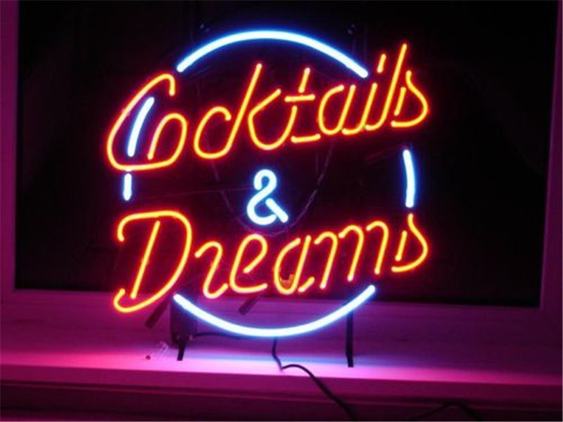 neon sign forcocktails and dreams signboard real glass beer bar pub