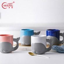цена на Cute Handmade Whale Mug Ceramic Coffee Cup Personalized Pottery 315ml Travel Tea Mugs For Kids Mom Girlfriend Whale Lover Gifts