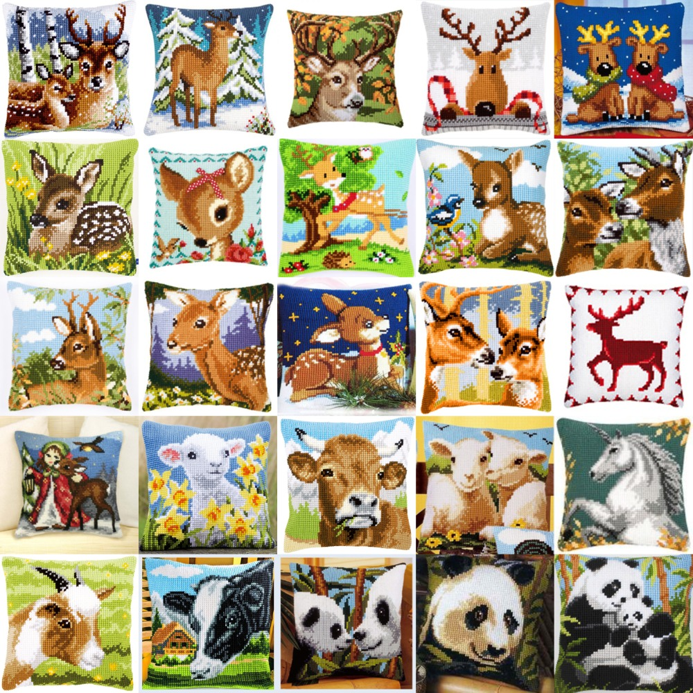 DIY Needlework Kit Unfinished Acrylic Yarn Embroidery Pillow Tapestry Canvas Cushion Front Cross Stitch Pillowcase 2017 animals