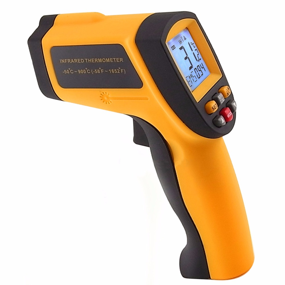 Digital Infrared IR Non-Contact Laser Thermometer 12:1 DS Pyrometer 0.10~0.99 EM -50~900 degree C / -58~1652 degree F Range 0 6 lcd portable non contact infrared thermometer white 50 220°c range