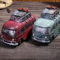 Vintage Bus Piggy Bank Ornament Desk Crafts Car Piggy Bank Figurine Retro Money Box Home Decoration Accessories Birthday Gifts