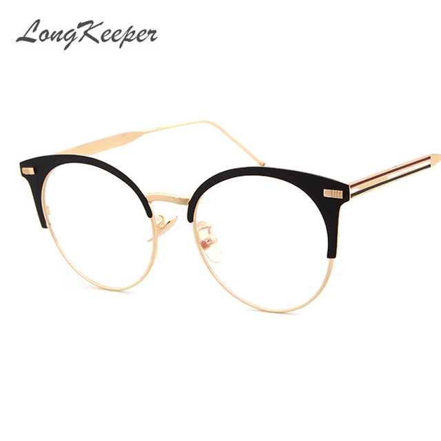 8fe579d5821 LongKeeper Fashion Women Brand Designer Cat s Eye Glasses Half Frame Cat Eye  Glasses Women Eyeglasses Frames High quality Grau