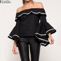 ZANZEA Women Cold Off Shoulder Loose Summer Blusas Boat Neck Flouncing Bell Sleeve Stripe Plated Blouse Shirt Tops Plus