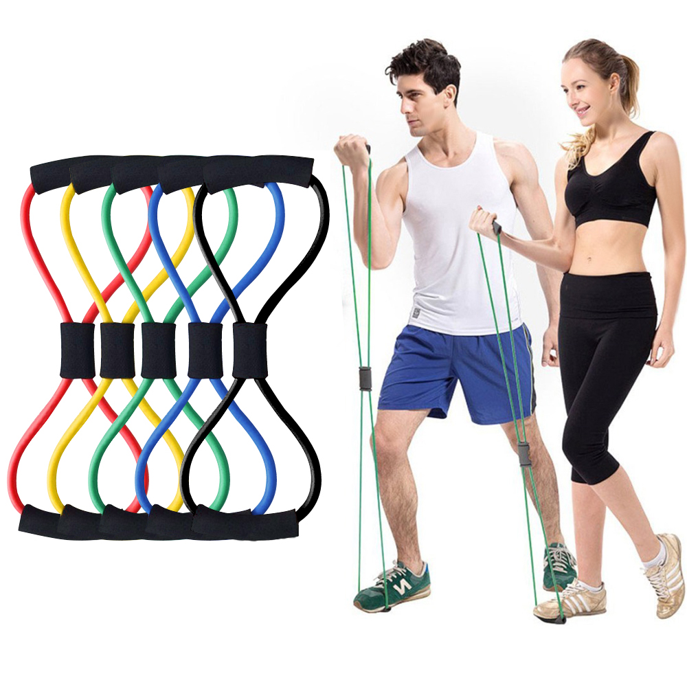 8 Word Fitness Rope Resistance Band Elastic Band för Fitness Equipment Gummi Band Expander Träning Motion Sträck Workout