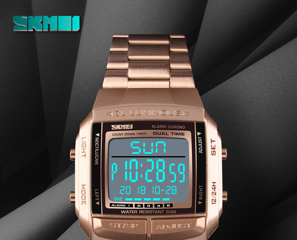 SKMEI Sports Watch Men Digital Watch Alarm Clock Countdown Watch Large Dial Glass Mirror Clock Fashion Outdoor Relogio Masculino 8
