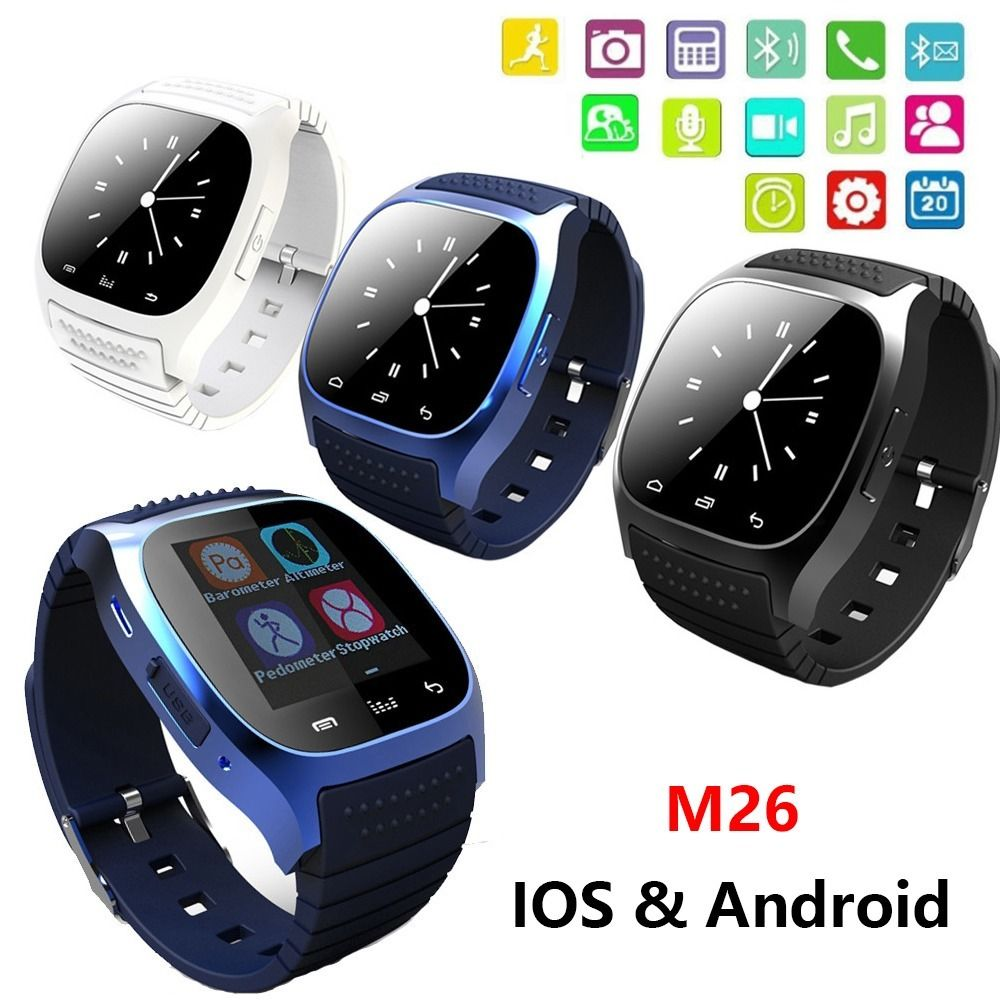2016 New Waterproof font b Smartwatch b font M26 Bluetooth Smart Watch With LED Alitmeter Music