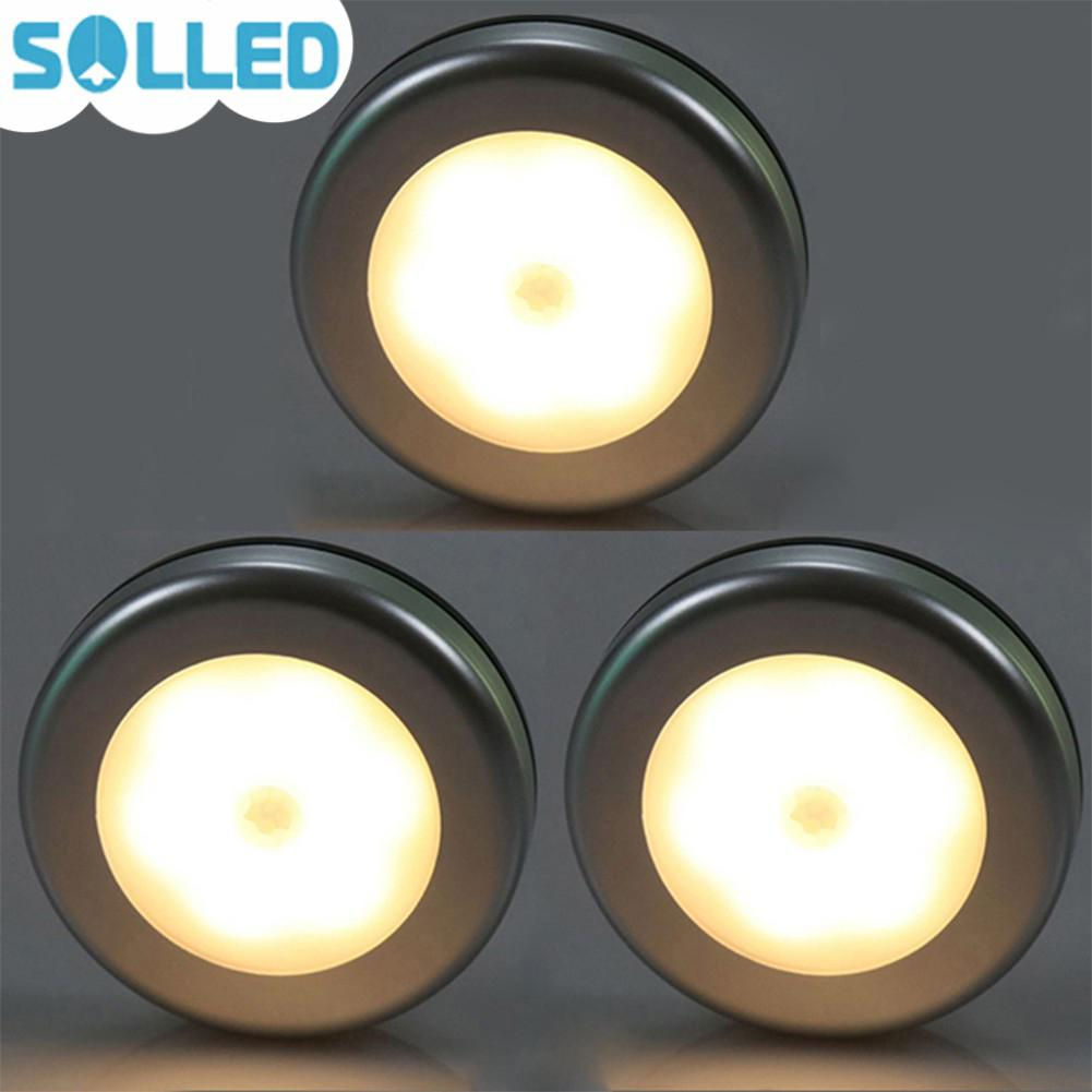 SOLLED 3Pcs Motion Sensor LED Night Light Battery Powered Stick-anywhere Wall Light for Hallway Closet Stairs Bedroom