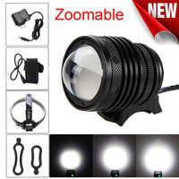 Zoomable T6 LED 5000 Lm lanterna bicicleta rower głowy światła led latarka akumulator wskaźnik laserowy #4S12 w Latarki LED od Lampy i oświetlenie na