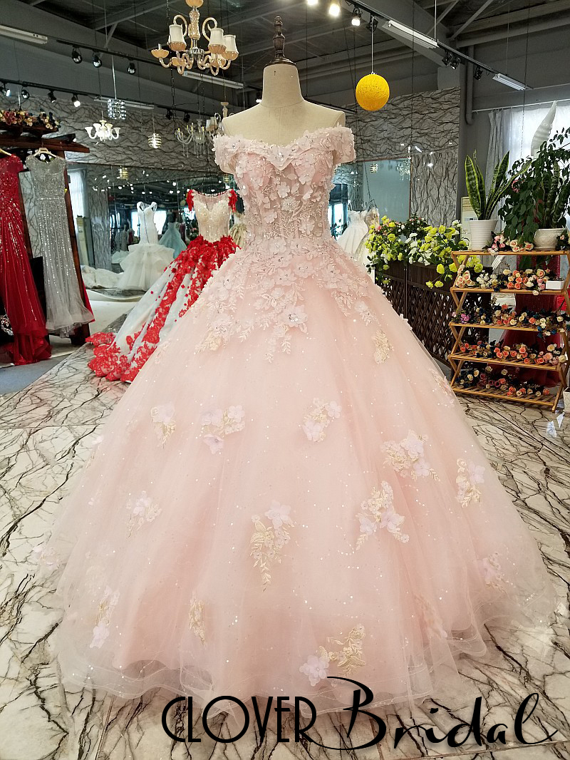 Free Customized CloverBridal 2018 New Arrival Floor Length Bling Light Pink Flowers Bride Dress Off The Shoulder Wedding Gowns