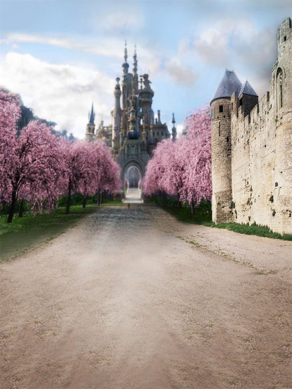 Vintage Castle Photography Backdrop Outdoor Scenic Spring Pink Cherry Blossom Tree Digital Photo Shooting Background for Studio backdrop baby 6 5x10ft 200x300cm prince castle vintage castle vinyl backdrop