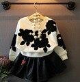 2015 outono conjunto de roupas menina arco sólido crianças bonitos atender 2 PCS de manga comprida casaco de couro + saia princesa Twinset doce