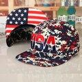 O envio gratuito de 2016 Chapéu das mulheres do sexo masculino Camouflage verão da bandeira dos eua boné de beisebol hop cap hiphop chapéus snapback cap badboy