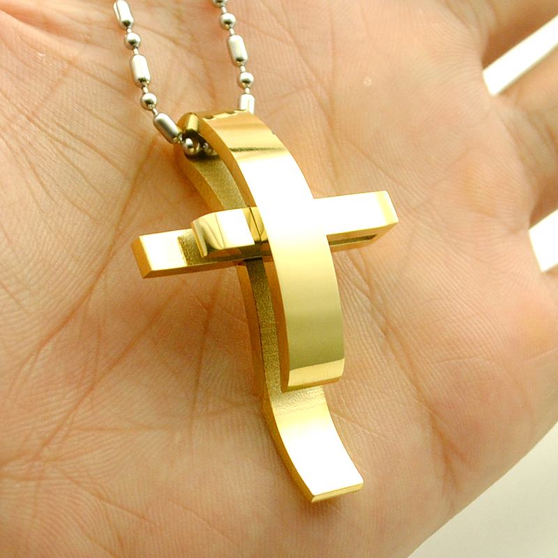 AMUMIU Silver Color Cross Stainless Steel Pendant Necklace Men Women Chain Jewelry Christmas Gifts Wholesale KP101 in Pendant Necklaces from Jewelry Accessories