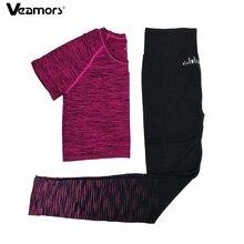 VEAMORS, комплект из 2 предметов для фитнеса, йоги, Быстросохнущий женский спортивный костюм для бега, Спортивная футболка, штаны для йоги, спортивный костюм для тренировок, комплект одежды