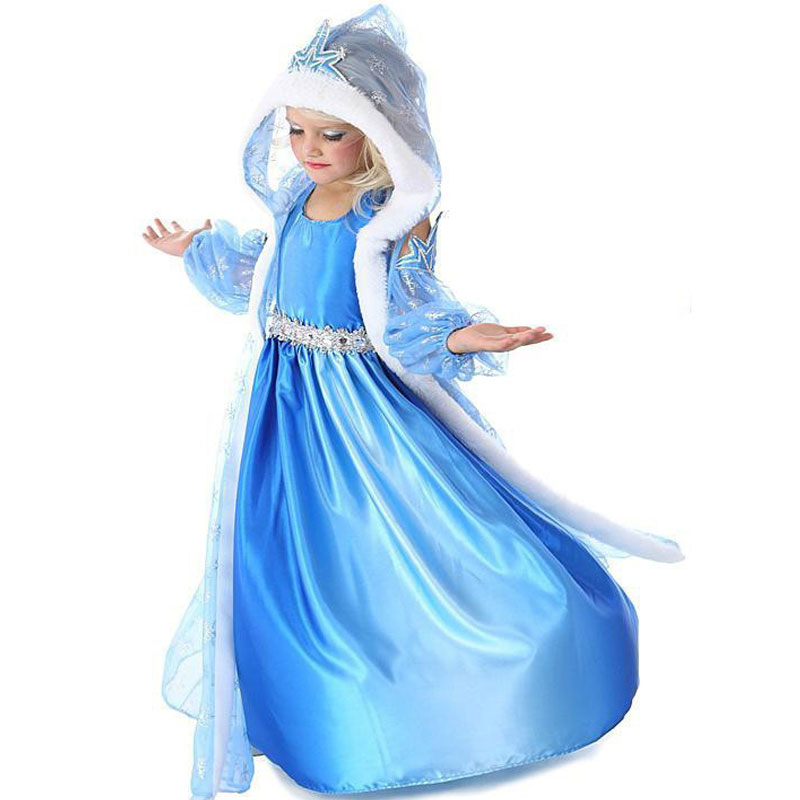 2018 Anna Elsa Princess Girl Dress Cosplay Party Costume Dress Snow Queen Children Clothing Baby Kids girls summer flora dress summer girl princess elsa dress with crown children halloween snow queen cosplay costume baby toddler kids girls party clothes