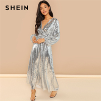 SHEIN Going Out Silver Bishop Sleeve Wrap Front Sequin V Neck Fit and Flare Long Sleeve Dress Elegant Dresses Women Autumn Dress