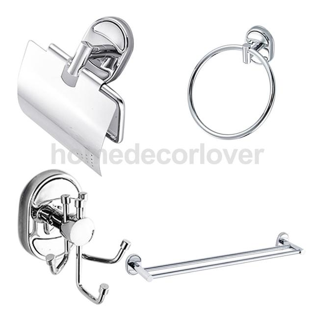 4pieces Bathroom Accessory Set Double Pole Towel Bar Towel Ring