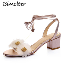 Bimolter Original Sweet Handmade Flower Women Sandals Thick Heel Sheepskin 2019 Summer New Style Genuine Leather Sandals FB049 цены онлайн