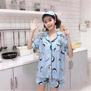 Image 3 - Sleep Lounge Women Pajamas Set with Shorts Cotton Sleepwear Short Sleeve Spring Summer Pyjama Flower Print Pijama Nightsuits