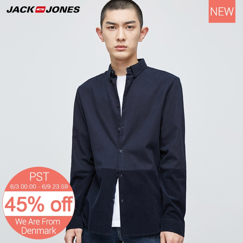 Jack Jones Men Cotton Long-Sleeved Shirt Coat E|217405513