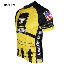 Sportswear Men's US Army Soldiers Cycling Jersey Short Sleeves Bike Wear Breathable Cycling Bicycle Clothing Clothes Yellow