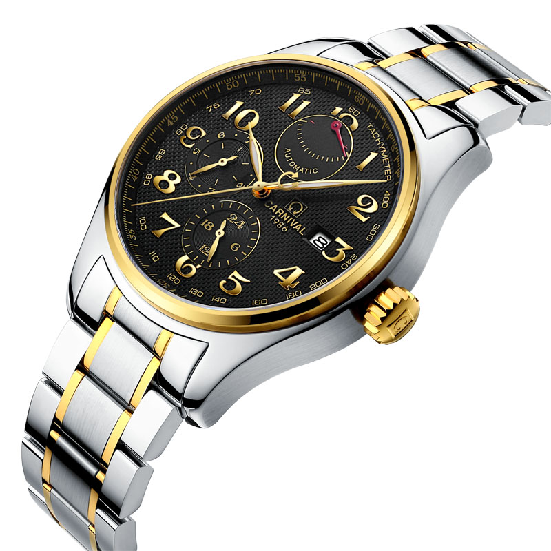 Carnival Luxury Automatic Watch Men 150M Waterproof Mens Mechanical Watches Stainless Steel Golden Man Clock horloges mannenCarnival Luxury Automatic Watch Men 150M Waterproof Mens Mechanical Watches Stainless Steel Golden Man Clock horloges mannen