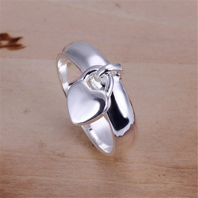 Silver Colored Heart Shaped Ring