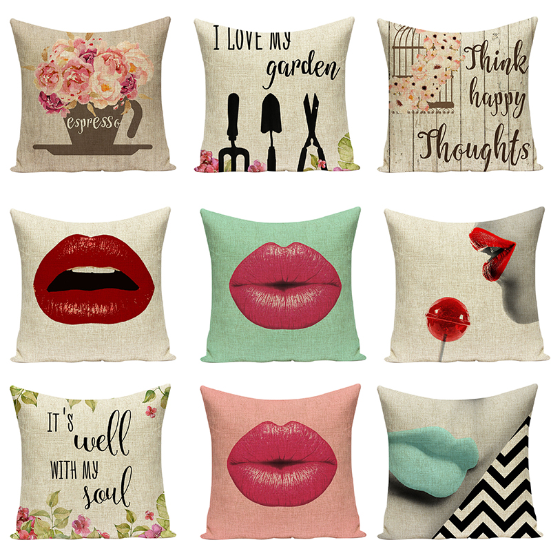 Sex Lips Sofa Decorative Cushions Floral Pillowcases Art Car Seat Accessories Letters Pi ...