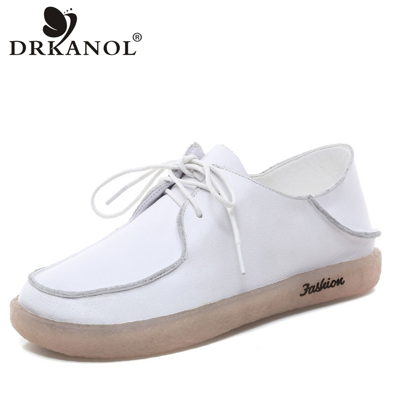 DRKANOL Spring Shoes Women Flat Shoes Genuine Leather Soft Cow Muscle Soles Pregnant Woman Flats Casual Shoes Moccasins WhiteDRKANOL Spring Shoes Women Flat Shoes Genuine Leather Soft Cow Muscle Soles Pregnant Woman Flats Casual Shoes Moccasins White