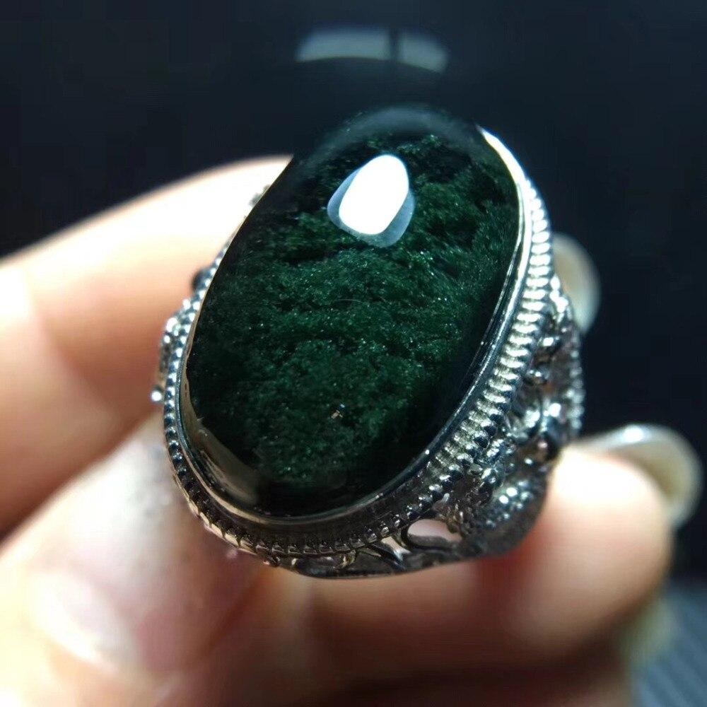 Genuine Natural Green Phantom Quartz Crystal Adjustable Ring 22.3x13mm Bead Lucky Love AAAAA Stone Ring Jewelry Drop Shipping