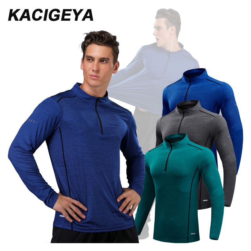 Running Long Shirts Men Quick Dry Workout Compression Sports Gym Exercises 2018