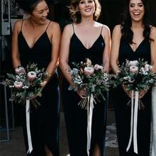 Bbonlinedress Sheath Chiffon V Neckline Bridesmaid Dresses Long Sexy Spaghetti Straps Dark Navy Bridesmaid Dress With Split