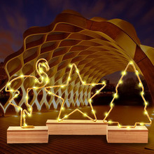 Hot Sale Wrought Iron Flamingo /Star /tree Wooden Base Night Light Creative LED Table Lamp Home Ornaments Desk Decor Kids