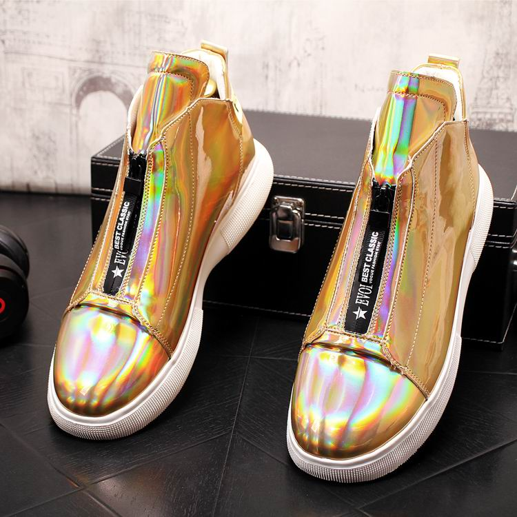 ERRFC Luxury Men's Gold Leisure Shoes Fashion Designer High Top Zip Man Casual Comfort Shoes For Show White Vogue Party Shoes 43 3