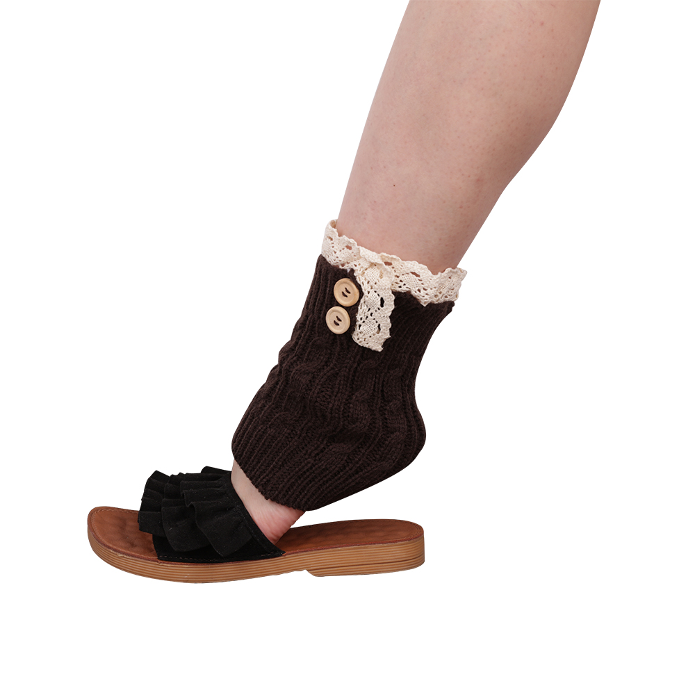 Twist Buttons Foot Covers Knee Sets Autumn Winter Models Boot Cuff Knit Warm Lace Feet Socks Short Warm Foot Cover Women Girls