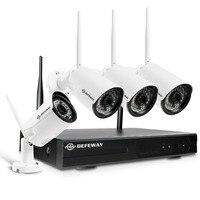 DEFEWAY 8CH Беспроводной NVR 1080 P H.265 + IP сети Wi Fi камера наружного видеонаблюдения Системы дома комплект видеонаблюдения с 4 шт.
