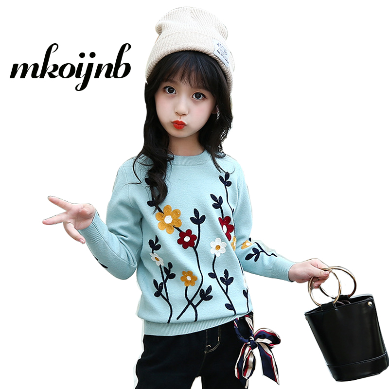 2018 Girls Flowers Sweaters Winter New Fashion Casual Thicken Kids Teens Embroidery Sweaters Children Clothing 4 6 8 10 12Years 2018 new fashion girls sweaters 2 6years children clothing c8069