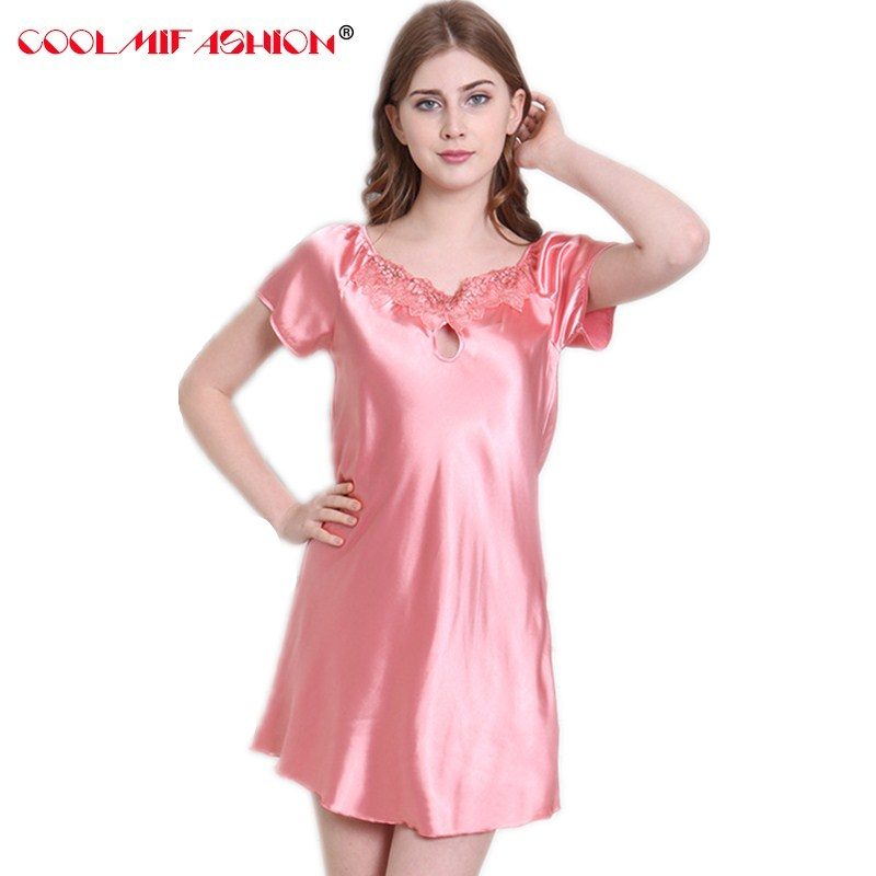 Silky Women Nightgowns Summer Faux Silk Ladies Sleep Lounge Home ...