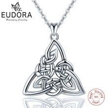 Eudora 925 Sterling Silver Geometrical line Triangle Pendant Neckalce Irish Celtics Knot Necklace Fine jewelry For Women Gifts