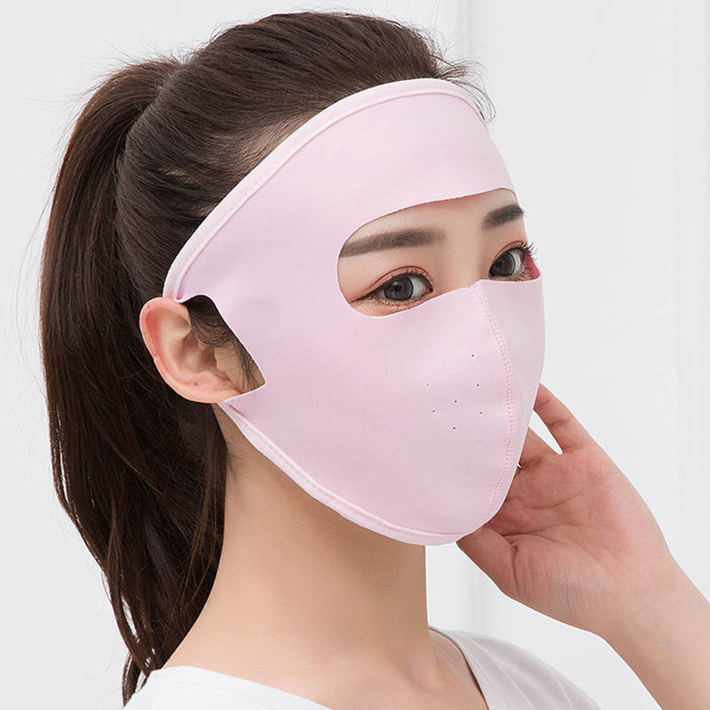Unisex Mask Summer Ice Silk Thin Sunscreen Full Face Mask UV Protection Breathable Travel Drive Sunscreen Pink Blue Solid Hot