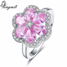 lingmei Exquisite 925 Silver Flower Jewelry Multicolor Pink Purple White Cubic Zircon Women Ring Size 6 7 8 9 Anniversary Gifts