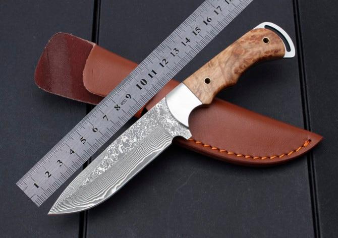 High Quality Fixed Blade font b Tactical b font Damascus font b Knife b font Wood
