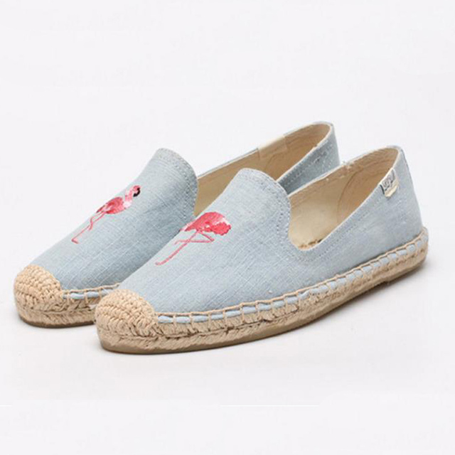 2017 Women's Esapdrilles Casual flat Shoes Breathable Flax Hemp Canvas espadrilles Slip-on Cotton sewing shoes natural soft Flat